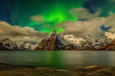 自然,景观,北极光,山,雪