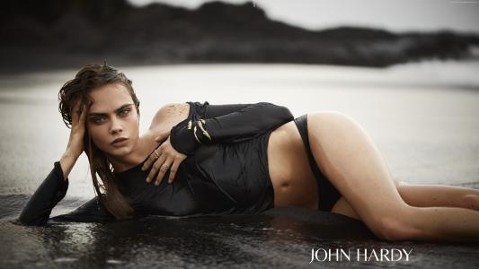 卡拉德文,模型,演员,金发女郎,看,女孩,海滩,谎言,海,水,湿,T恤
