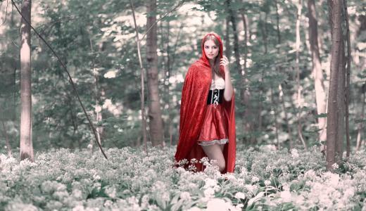 森林,斗篷,女孩,幻想