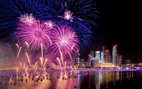 烟花,新年,新加坡,敬礼,新加坡,烟花