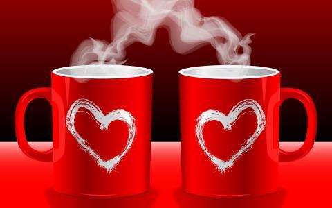 情侣,杯子,香水,心中,红色