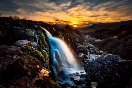 苏格兰,山,瀑布,晚上,黄昏,日落
