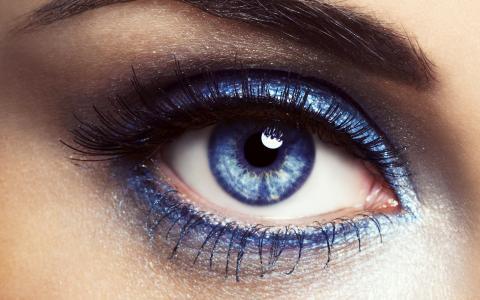 眼睛,蓝色,睫毛,睫毛膏,眉毛,看