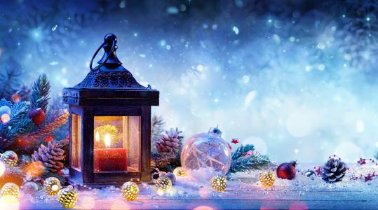 假期,新年,圣诞节,板,灯笼,蜡烛,分支机构,云杉,枞树,锥,玩具,球,灯泡,花环,雪
