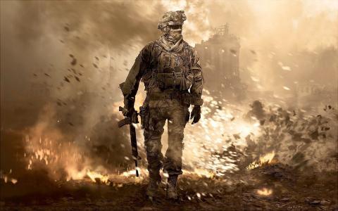 使命召唤,士兵,战争,混乱,火焰