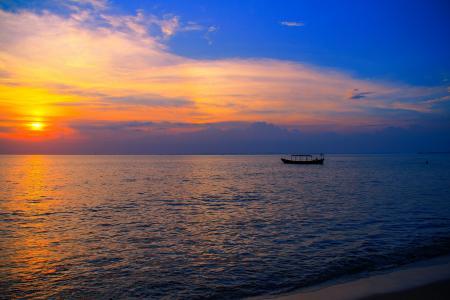 天空,云,日落,海,船