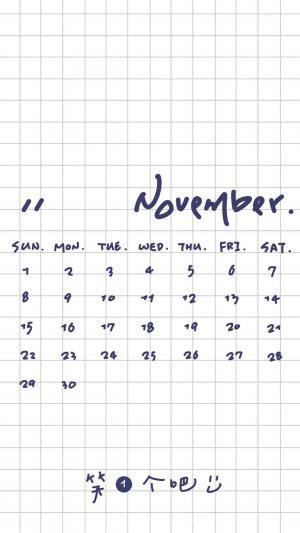 2020年11月简约方格日历
