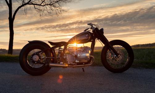 宝马,R5,经典,摩托车,日落
