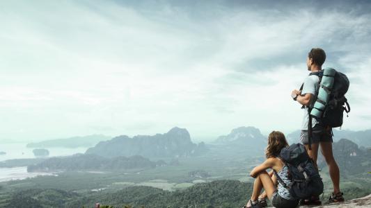 旅游,山,家伙,游客,女孩,背包