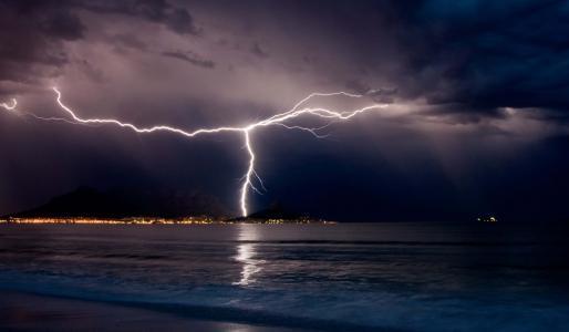 晚上,海,山,船,风暴,闪电,美丽,多云