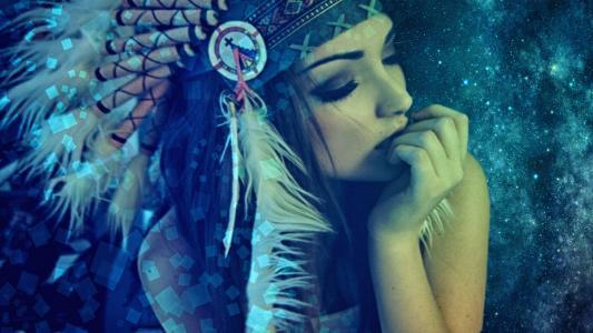 女孩,印第安人,空间,美容,缪斯,女孩,印度,空间,美容,缪斯