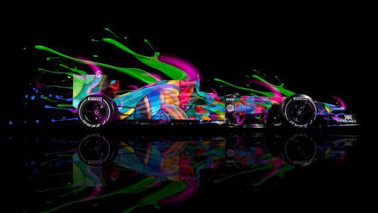 托尼·科汉,F1,一级方程式,现场色彩,五彩,速度,艺术,托尼汽车,Photoshop,霓虹灯,摘要,黑色,倍耐力,高清壁纸,托尼Kohan,Photoshop,一级方程式,F1,