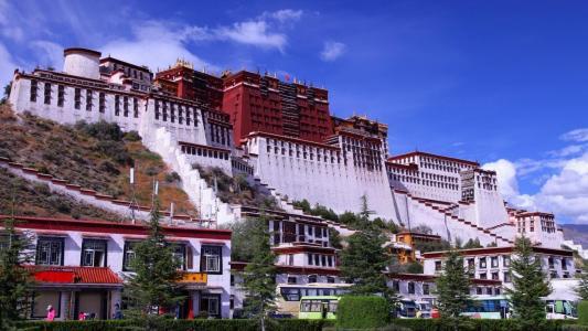 中国,西藏,宫殿,山脉,建筑物,天空,美丽,绿化