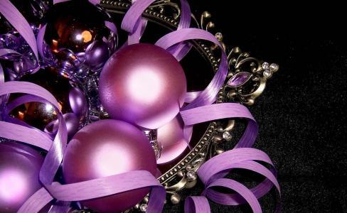 圣诞玩具,球,丝带,托盘,光