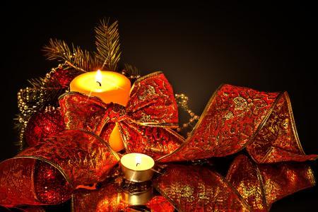 蜡烛,球,弓,丝带,灯,圣诞玩具