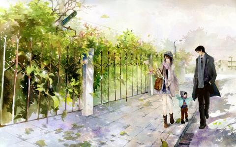 家庭,树叶,走路,绘画,孩子,何他武