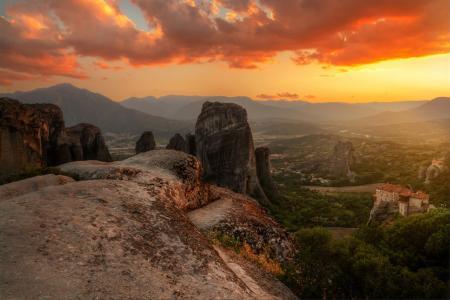 山,谷,天空,日落,流星