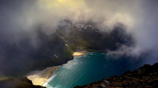 山,雾,湖,自由
