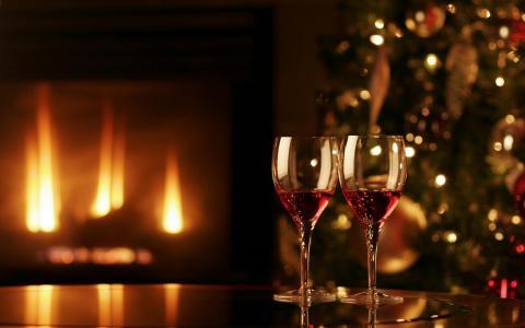 火,枞树,舒适,眼镜,壁炉,假期