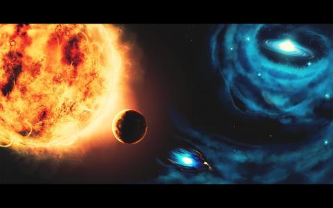 空间,photoshop,绘图,行星,太阳