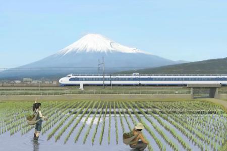 火车,稻田,火车,富士