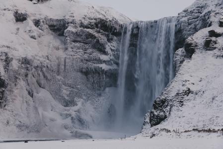 冰岛,冬天,瀑布,雪,岩石,性质