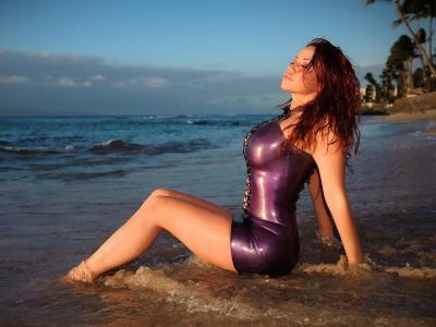 比安卡beauchamp,女孩,构成,海滩,红色,性感,图,乳胶,礼服