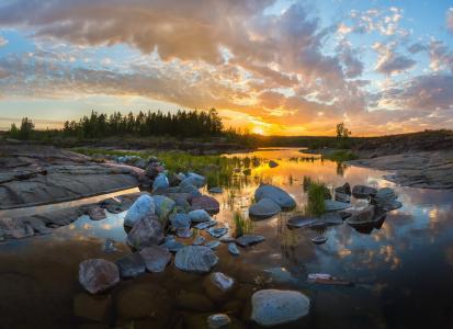 水,反射,云,日落,草,岩石,石头,拉多加,拉什科夫Fedor