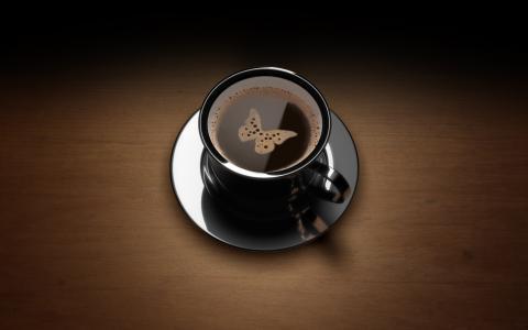 咖啡,杯子,蝴蝶,泡沫
