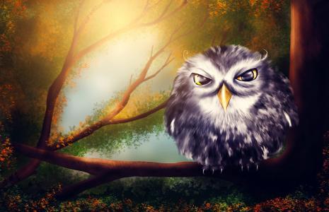 树木,鸟类,人物