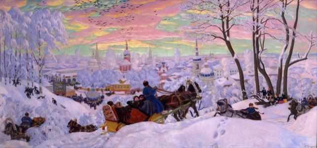 绘画,冬天,鲍里斯Kustodiev,嘉年华,度假,寺庙,绘画