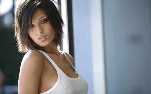 黑发,美女,性感,看,乳房,山雀