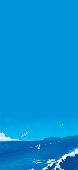 蓝色系海上美景插画