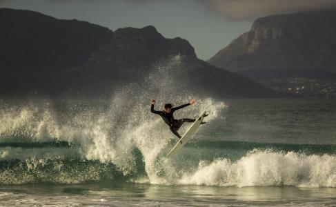 冲浪,男子,极端,体育,山,峡湾,海,天空,云