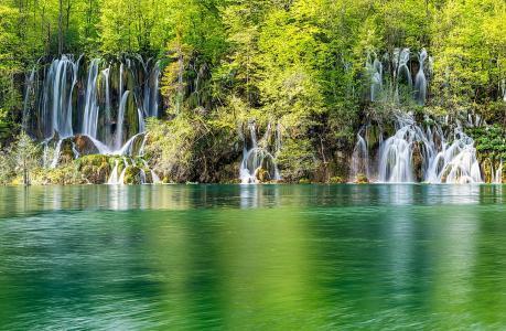 瀑布,湖泊,树木,溪流,美女,梯级,绿化