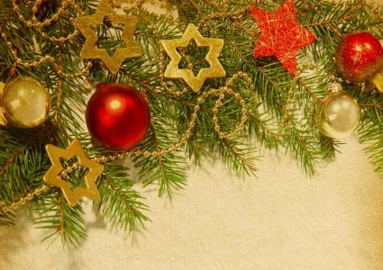 圣诞树,星星,球