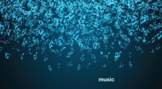 重力,音乐,下降,笔记,深蓝色的背景