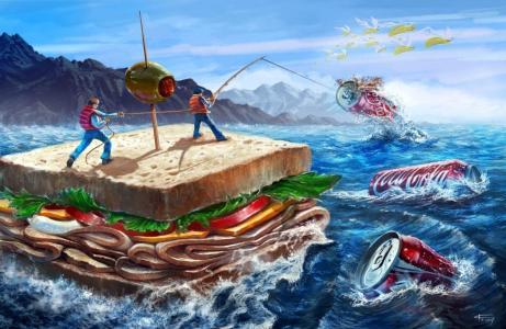 海,三明治,玉米,三明治,橄榄,可口可乐