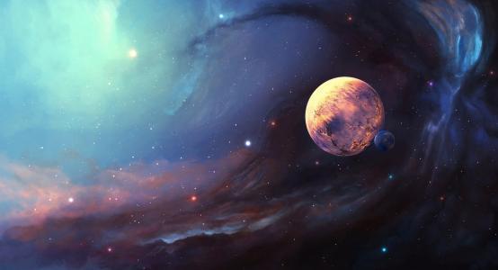 星云,卫星,星球,星星,空间,艺术