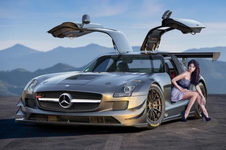 梅赛德斯 - 奔驰,SLS,63,AMG,银色,前面,Aksyonov尼基塔Andreevich,梅赛德斯奔驰,银,开门,鸥翼,女孩,山,地平线