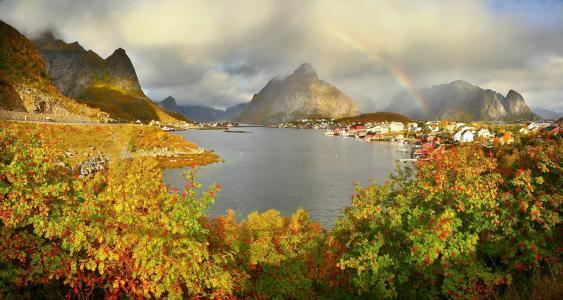 山,秋,挪威,雷讷,Gravdalsbukta,云,彩虹,灌木,性质,城市