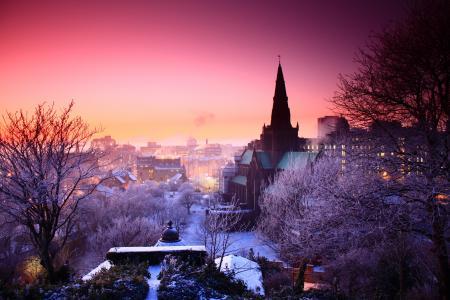 日落,冬天,城市