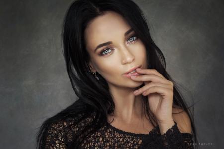 女孩,模型,安吉丽娜·佩特洛娃,安吉丽娜·佩特洛娃,肖像,黑发,看