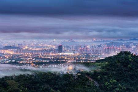 台北,中国,城市,黎明,cnr,台湾,蓝色,早上