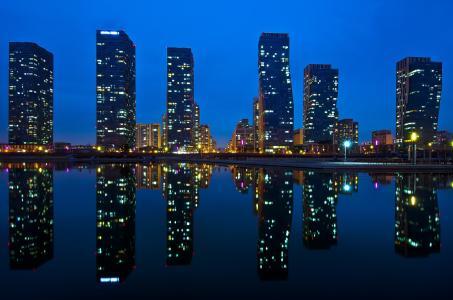 亚洲,韩国,城市,仁川,松岛,中央公园,高层建筑,房屋,水,倒影,夜景,灯