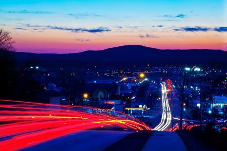 曝光,城市,晚上,灯光,道路