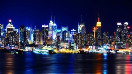 灯,纽约,纽约,曼哈顿,晚上,美国,晚上