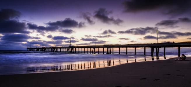 海洋,天空,云,海岸,美女,码头,地平线,海滩,宽屏
