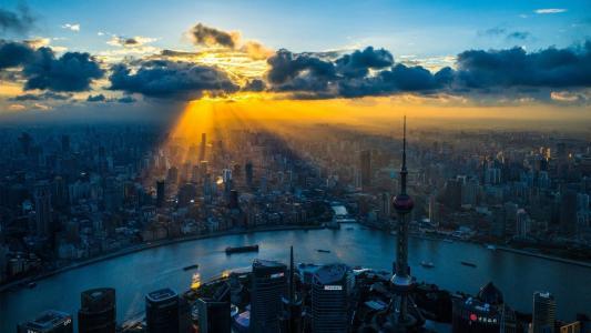 上海,中国,河,光,建筑