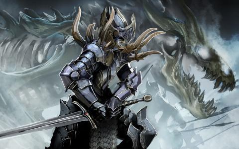 盔甲,剑,龙,骨架